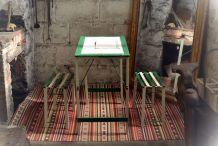 Table de jardin en bois pliante + 2 sièges