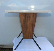 Table bistrot formica et acajou 1960