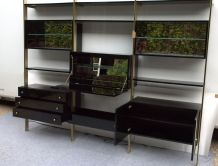 Bibliothèque étagères en laque et laiton Roche Bobois 1970s