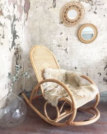 Rocking chair en rotin adulte