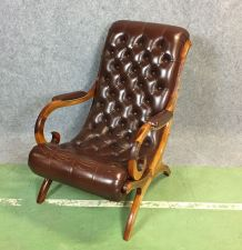 Fauteuil chesterfield en cuir Marway