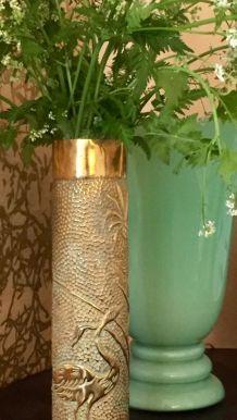 Vase en laiton - Héron et ananas