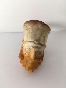 Pipe en écume et ambre XIXème tête de Zouave