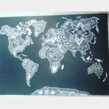 Carte du monde Mandala