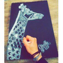 Dessin Giraffe crayon blanc