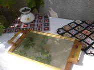 Ancien plateau en bois et verre miroir VINTAGE ART DECO
