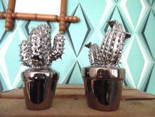 Duo de cactus en métal