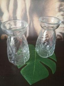 lot 2 vases à jacinthes verre blanc- Art déco