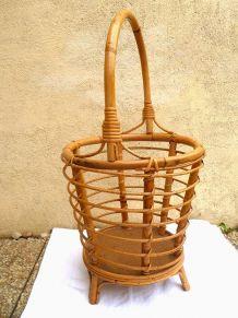 Travailleuse en bambou et rotin vintage