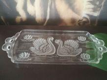 Plat à cake décor de cygne- vintage-plat à gateaux