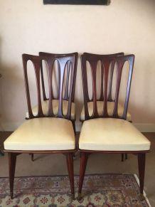 4 chaises en Teck et Skaï -  esprit scandinave - vintage