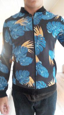 Veste bleue à fleurs homme, taille M