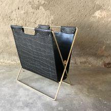 Porte-revues en métal et skai - vintage