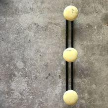 Porte-manteaux  3 boules jaunes - vintage