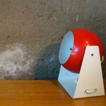 Lampe Eye Ball rouge et blanche vintage