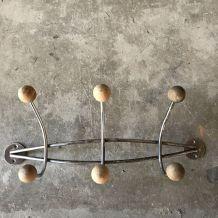 Porte-manteaux 6 boules bois et acier chrome vintage