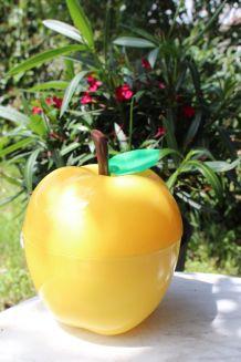 Seau à glaçons pomme jaune vintage