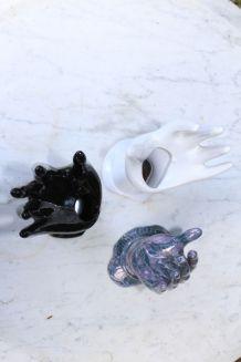 Porte bagues main en céramique blanche