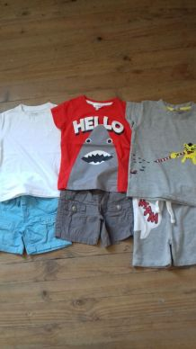 lot 6 t-shirt+ 5 short. t: 3 ans