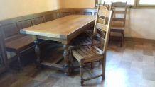 table campagnarde chêne + chaises + banc de coin