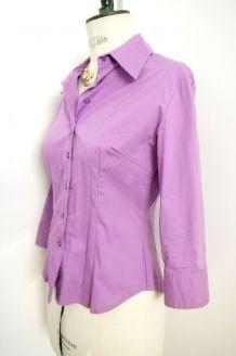 be60da00091 Chemise cintrée chic working girl violet lilas parme vintage ...