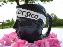 Pichet Carafe Corsica en céramique noire tête de Maure Corse