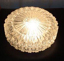 Plafonnier rond en verre ciselé années 70