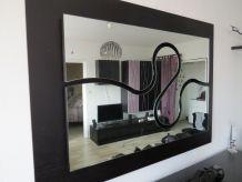 Miroir - Design Wave laque Noir et Parme