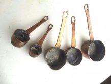 5 miniscasseroles cuivre de fabrication artisanale