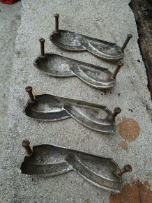 4 poignees coquilles bronze art deco