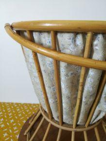 travailleuse en rotin et tissus- boite à tricot-vintage-