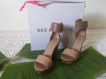sandales compensées cuir et bois See By CHLOE