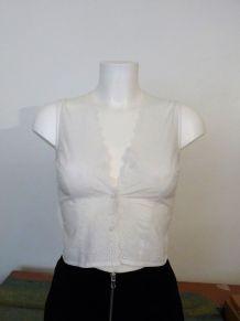 Top Cintré 100% Coton Blanc Sans Manches Ajouré- Cote  Femme