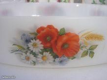 Grand plat à four ovale Arcopal vintage 70 Décor Coquelicots