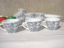 Tasses motif bleues Vintages RIVANEL MADE IN FRANCE