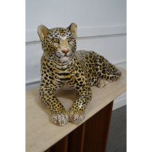Statue vintage léopard céramique