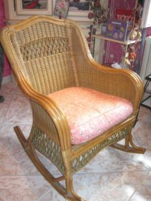 Fauteuil  rocking chair rotin