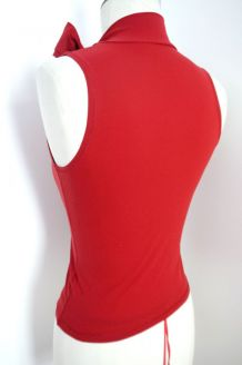 Top col montant noeud cou lacet rouge chic vintage sexy femm