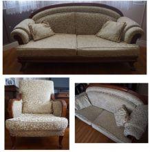 Lot de 2 canapés/sofas + 2 fauteuils en bois de noyer beige