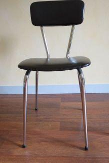 Chaise en skaï noir et chrome années 70
