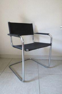 Fauteuils  style Marcel Breuer en cuir noir
