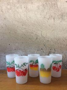 5 verres à eau vintage décor de fruits