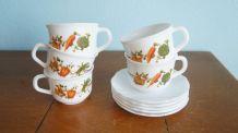 Set 5 tasses + coupelles Arcopal légumes