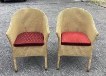 Paire de fauteuils Lloyd Loom des années 1980