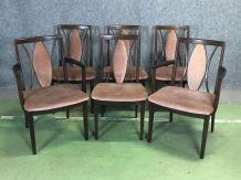 Suite de 4 chaises et 2 fauteuils en teck années 70