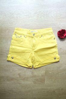 Short jean jaune strass vintage taille haute