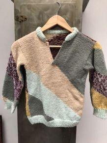 Tricot main, laine, enfant 5/8 ans