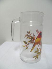 pichet en verre thème oiseaux