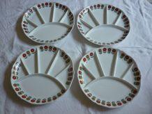4 assiettes a compartiments porcelaine Berry fleurs