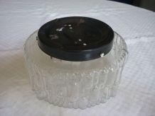 Plafonnier,applique ronde vintage verre moulé